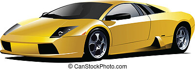 Gelber Sportwagen auf der Straße. Vec