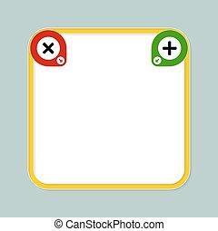 Gelber Textrahmen für Ihre Text- und Mathematiksymbole.