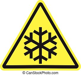 Gelbes Dreieckswarnzeichen mit schwarzer Schneeflocke isoliert.