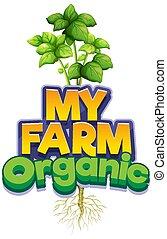 gemüse, mein, schriftart, design, bauernhof, wort, grün