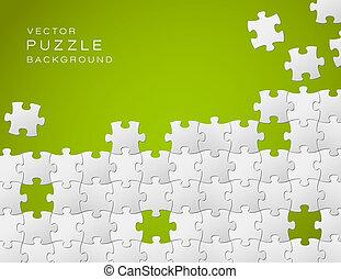 gemacht, puzzlesteine, vektor, grüner hintergrund, weißes