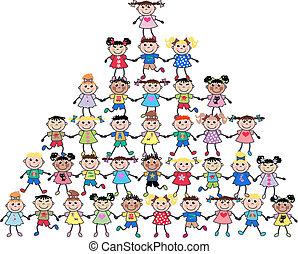 Gemischte ethnische Kinder.