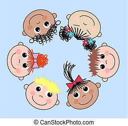 gemischter, kinder, ethnisch