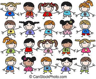 gemischter, kinder, kinder, ethnisch, glücklich