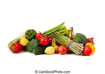 gemuese, früchte, weißer hintergrund, gemischt