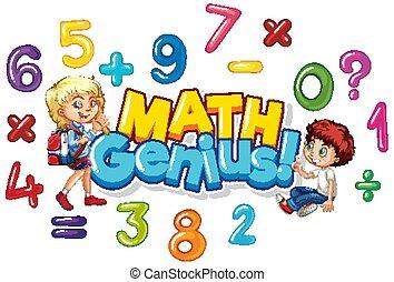 genie, glücklich, mathe, design, kinder, schriftart, wort