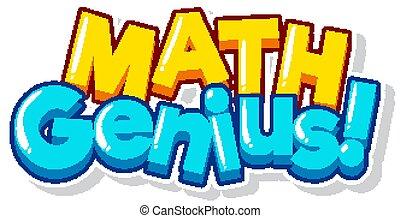 genie, wort, hintergrund, weißes, design, schriftart, mathe