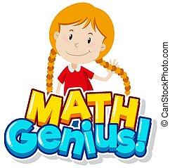 genie, wort, m�dchen, glücklich, design, schriftart, mathe