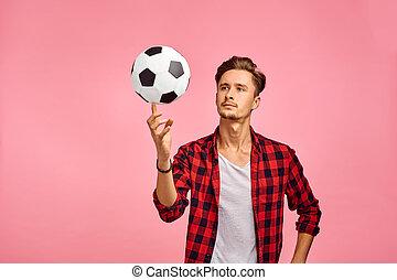genre, ernst, fußball, mann, kugel, porträt