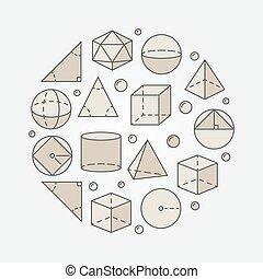 geometrie, bunte, trigonometrie, abbildung