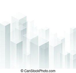 geometrisch, hintergrund., perspektive, weißes, 3d