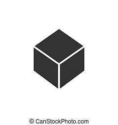 Geometrische Kubik-Ikone flach