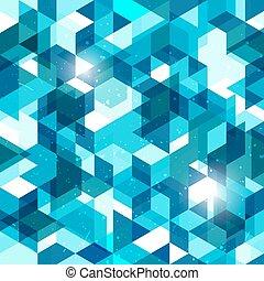 Geometrischer Hintergrund in blau. Abstraktes Vektormuster.