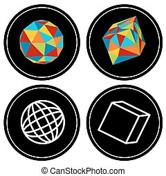 Geometrisches Polygon Icon Set.