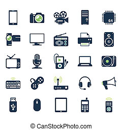 geräte, elektronik, satz, heiligenbilder