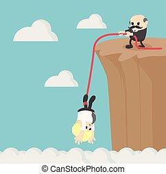 Geschäfte helfen einander, die Bergklippe zu klettern.
