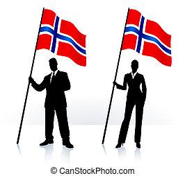 Geschäftliche Silhouette mit Flagge Norwegens