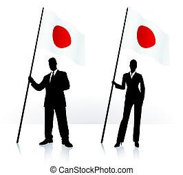 Geschäftliche Silhouette mit Flagge von Japan