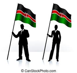 Geschäftliche Silhouette mit Flagge von Kenia