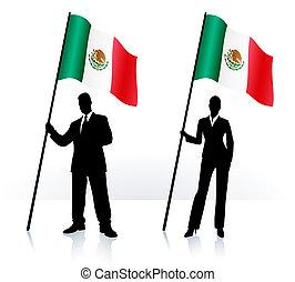Geschäftliche Silhouette mit Flagge von Mexiko