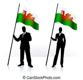 Geschäftliche Silhouette mit Flagge von Wales
