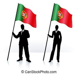 Geschäftliche Silhouette mit Flaggen von Portugal