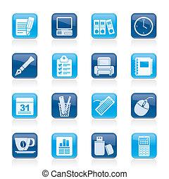 Geschäfts- und Büroausrüstungs-Ikonen
