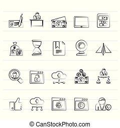 Geschäfts- und Bürogeräte-Icons.