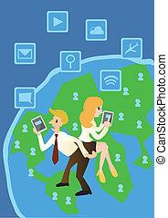 Geschäftscomputer und Netzwerke auf der Welt, Cartoon Vektor