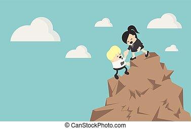 Geschäftsfrau, die einem Geschäftsmann beim Bergsteigen hilft.