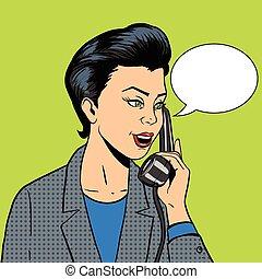 Geschäftsfrau mit Telefonvektor.