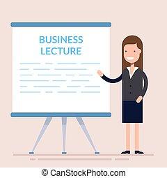 Geschäftsfrauen sind mit an Bord. Nette Frauenfigur über Geschäftsvorträge. Frau in einem Geschäftsanzug. Flat Charakter.