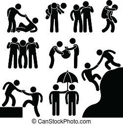 Geschäftsfreunde helfen einander