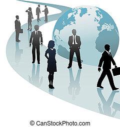 Geschäftsleute auf dem Weg der künftigen Welt