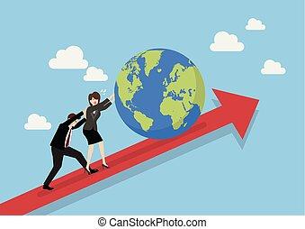 Geschäftsleute, die die Welt aufs Diagramm drängen