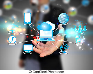 Geschäftsleute halten Cloud Computing, Technologiekonzept