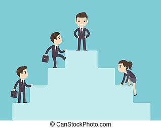 Geschäftsleute klettern auf Firmen