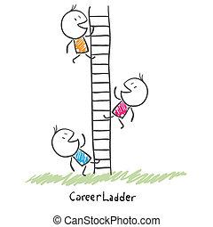 Geschäftsleute klettern die Leiter hoch. Bildliche Darstellung der Karriere