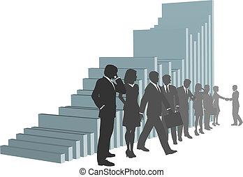 Geschäftsleute mit Wachstumskarte