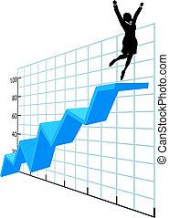 Geschäftsleute oben auf der Erfolgsliste des Unternehmenswachstums