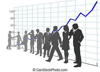 Geschäftsleute sammeln Wachstumskarten