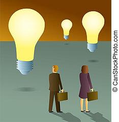 Geschäftsleute suchen nach Ideen