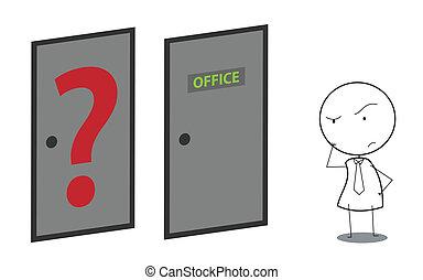Geschäftsleute-Türfrage