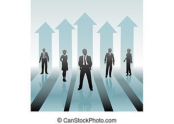 Geschäftsleute, Team vorwärts