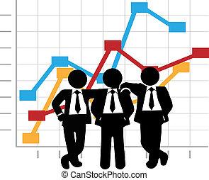 Geschäftsleute verdienen ein Wachstumsdiagramm