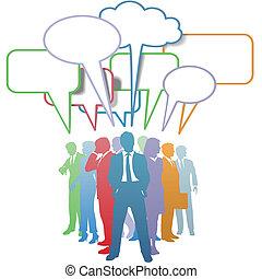 Geschäftsleute zeichnen Kommunikations-Blase