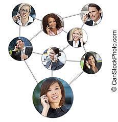 Geschäftsmänner Frauen Handy-Kommunikation Netzwerk.