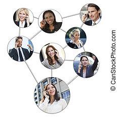 Geschäftsmänner Frauen Handy-Netzwerk.