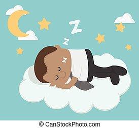 geschäftsmann, afrikanisch, junger, wolke, eingeschlafen