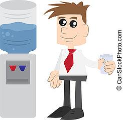 Geschäftsmann durch Wasserkühler